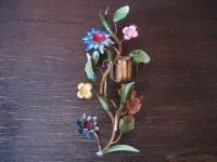 seltener venezianischer Wandleuchter Kerzenleuchter Blumen polychrom bemalt