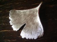riesiger Gingko Ginkgo Blatt Anhänger 925er Silber weißgold fein ausgearbeitet