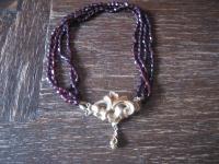 traumhaft schönes Biedermeier Granat collier 4reihig Schmuckschließe Schaumgold