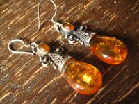 super schöne Bernstein Ohrringe Hänger 925er Silber Amber Earrings Dangle