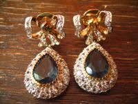 Kronjuwelen gesucht ? Prächtige Ohrringe Hänger Chandeliers 925er Silber Stein blau