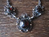 prächtiges antikes Trachten Dirndl Granat Collier Kette 800er Silber Handarbeit