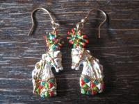 Pferd prächtig geschmückt opulente Designer Ohrringe Hänger 925er Silber Emaille