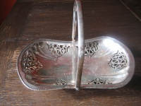 elegante Anbietschale Silberschale Tafelaufsatz Henkelkorb silber pl England