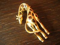 Traum Vintage Brosche große Giraffe gold Emaille 80er Jahre Modeschmuck selten