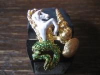 Einhorn aus Meer opulenter Designer Ring 925er Silber gold Emaille verstellbar