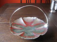 dekorative Schale Anbietschale Henkelschale in Blüten Form silber pl EPNS