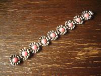 prächtiges Art Deco Rhodochrosit 835er Silber Blüten Armband Rosa Steine 19, 8 cm