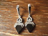 exklusive lange Art Deco Onyx Markasit 925er Silber Designer Ohrringe Hänger