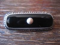 klassische sehr elegante Art Deco Brosche Nadel Onyx Markasit 925er Silber