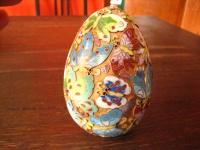 prächtiges riesiges Ei Cloisonnée Emaille Schmetterlinge gold China Handarbeit
