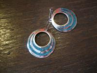 traumhafte große 925er Silber Türkis Ohrringe Hänger Scheiben Mexiko Handarbeit