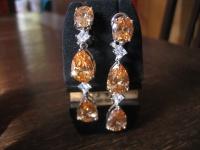 moderne Statement Ohrringe Hänger 925er Silber Zirkonia orange & weiß HAMMER !