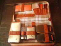 kultiges Vintage Herren Reise Etui Kulturtasche 50er Jahre Leder viele Behälter