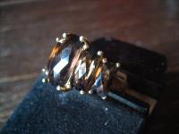 prächtiger vintage Designer Ring Rauchtopas 925er Silber vergoldet gold Topas