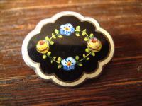 zarte Jugendstil Brosche Emaille emailliert Rosen Miniaturmalerei 800er Silber