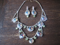 Traum in Türkis opulentes Strass Set Demi Parure Collier Ohrringe Clips Gablonz