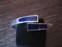 eleganter Vintage Armreif Armspange mit Emaille lapislazuli blau 835er Silber