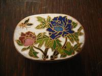 wunderschöne Dose Döschen Cloisonneé Emaille Phäonie Blüten oval selten