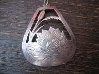 romantischer Jugendstil Anhänger Seerosen Teich 800er Silber reine Handarbeit