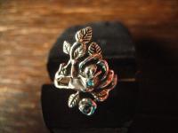 bezaubernd schöner vintage Rosen Ring Rose mit Rosblättern 925er Silber RG 60