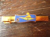 vintage Sport Krawattennadel Krawattenklemme Rudern Ruderboot Ruderer Emaille gold ausgefallen