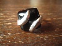 exklusiver Statement Designer Ring eingeschliffener Onyx 925er Silber RG 56