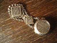 Rarität antikes Charivari Chatelaine Rockstecker Taschenuhr Uhrenkette Tracht