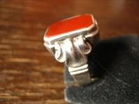geschmackvoller Art Deco Herrenring Siegelring Ring 835er Silber Carneol RG 59