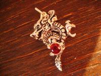 exklusiver Drachen Anhänger Drache roter Schmuckstein 925er Silber neu et Nox