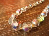 funkelndes 50er Jahre Vintage Collier Kette Aurora Borealis Glasperlen Verlauf