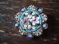 Rarität hochfeine antike Millefiori Mikromosaik Brosche Blüte Blumen 1920 Murano