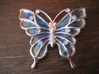 Traum Vintage Brosche großer Schmetterling mit Glasemail 80er Jahre Modeschmuck