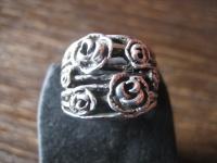moderner breiter Ring Bandring Rose Rosen Rosenblüten 925er Silber neu RG 60