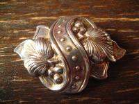 floral verzierte edle 925er Silber Brosche im Biedermeier Stil Tracht Dirndl