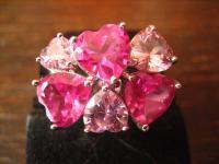 prächtiger vintage Designer Ring Cocktailring 925er Silber Pink Rosa Topas Herz