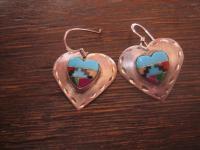 Herz Ohrringe 925er Silber Einlegearbeit Indianer Native Indianerschmuck Navajo