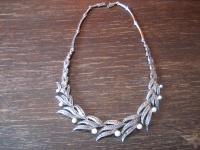 opulentes Art Deco Markasit Collier mit Perlen 925er Silber in TOP Erhaltung