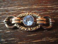 prächtige, sehr elegante Art Deco Brosche gold Doublé aquamarin Stein Blickfang