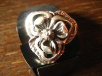 schwerer Designer Blüten Ring 925er Silber Blume Blüte modern interpretiert