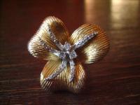 prächtiger vintage Designer Ring Cocktail Ring Blume Blüte 925er Silber gold Gr. 55