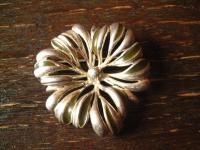 vintage Brosche Blume Blüte 925er Silber skandinavisches Design mit Emaille