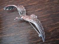 exquisite Art Deco Markasit Brosche Vogel im Flug Möwe 925er Silber TOP Zustand