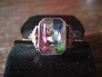 seltener Art Deco Ring echter Rheinkiesel 835er Silber Tracht Dirndl 17, 25 mm