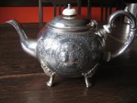 prächtige überreich verzierte antike Teekanne auf Füßen silber pl Sheffield