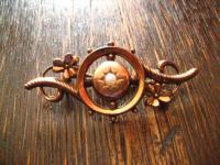 feine elegante Jugendstil Brosche Kleeblatt tolle Form Walzgold rotgold Doublé