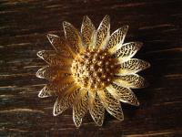 bezaubernde Jugendstil Blüten Brosche Blume Margarite Handarbeit filigran Silber