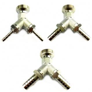 Y-Stück Metall mit 1x 3/4 Zoll AG 2x Tüllen in 4 7 10 mm Adapter Zapfanlage (X)