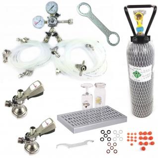 Zapfanlagen Zubehör 2 leitig Druckminderer Zapfkopf Bierschlauch Co2 Flasche NR8