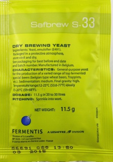 Safbrew S-33 Bierhefe 11, 5g trocken obergärig zum Bier selber brauen Trockenhefe